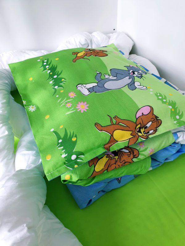 Бебешки комплект чаршафи 3 части – Котка и Мишка код: 10914 Бебешки чаршафи 100% памук