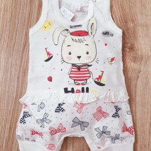 Бебешки гащеризон Зайче с панделки 56-80 код: 10178 Бебешки дрехи бебешки гащеризон