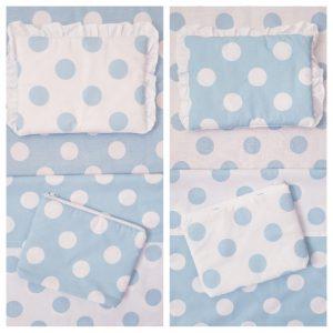 Летен Комплект за бебешка количка Точки синьо и бяло с 2 лица код: 10975 Комплекти за количка и порт бебе