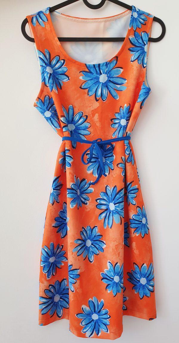 Дамска лятна рокля с цветя в оранж – с коланче код: 30537 Рокли За Мама дамска рокля