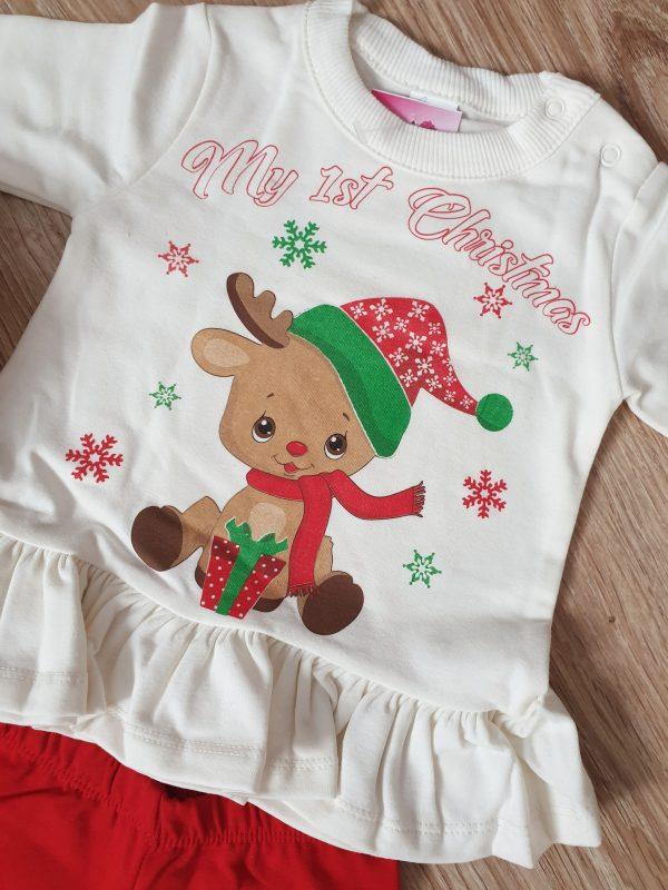 Коледен комплект 2 части Първа Коледа в бяло и червено (Размер 80) код: 40171 Бебешки дрехи бебешки дрешки