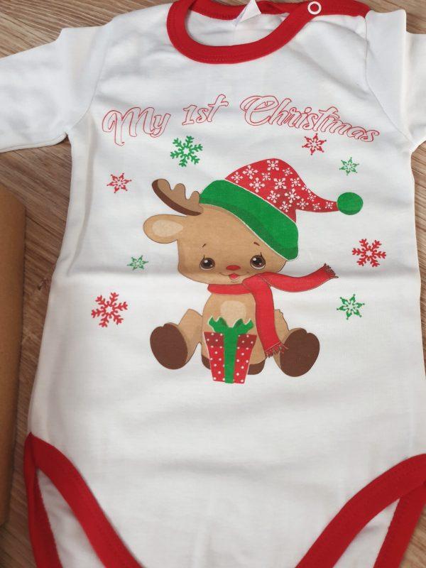 Коледно боди Първа Коледа Еленче бяло (Размер 92) код: 48542 Бебешки дрехи бебешки дрешки