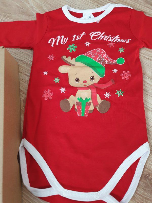 Коледно боди Първа Коледа Еленче червено (Размер 92) код: 49745 Бебешки дрехи бебешки дрешки