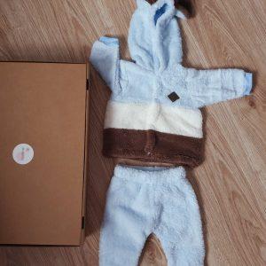 Комплект жилетка с ушички и панталонки от кохавлия синьо код: 58702 Бебешки дрехи бебешки дрешки